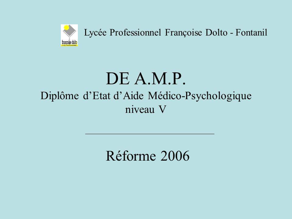 DE A.M.P. Diplôme d'Etat d'Aide Médico-Psychologique niveau V