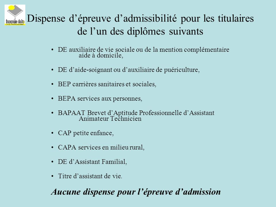 Dispense d'épreuve d'admissibilité pour les titulaires de l'un des diplômes suivants