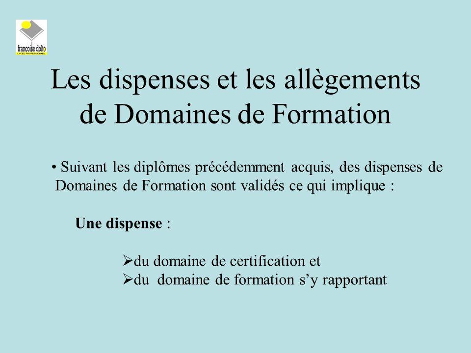 Les dispenses et les allègements de Domaines de Formation