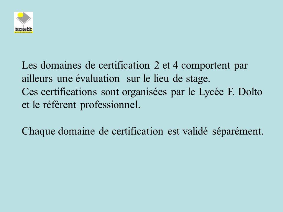 Les domaines de certification 2 et 4 comportent par