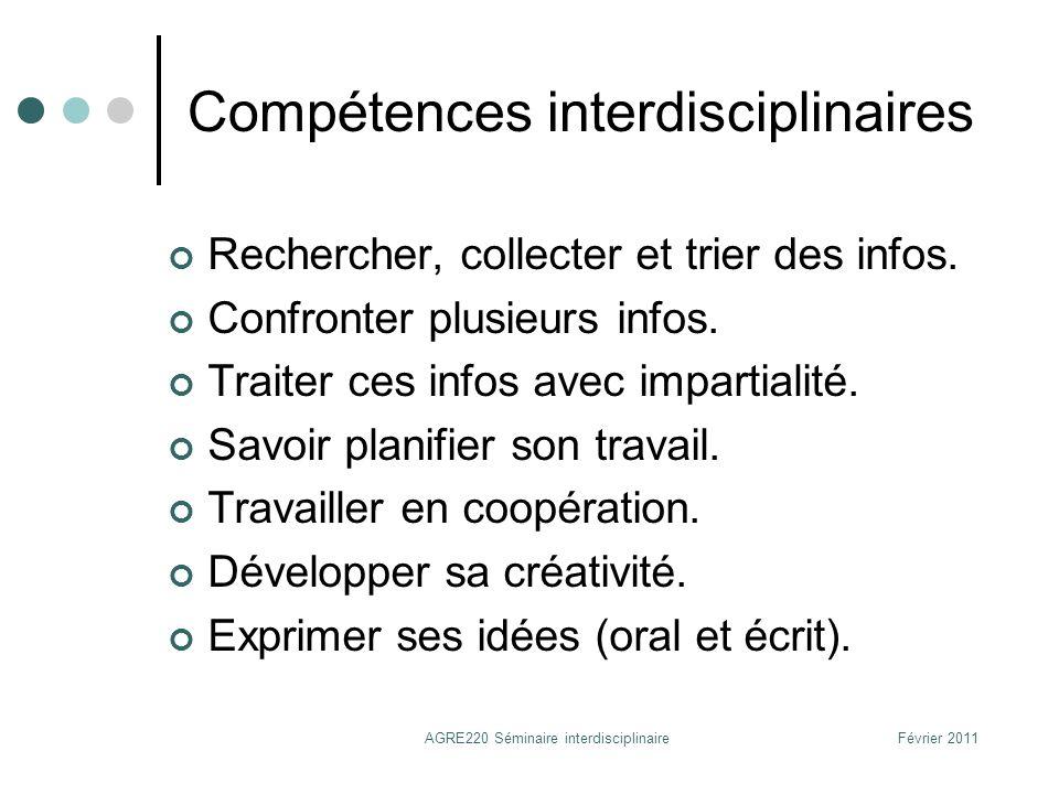 Compétences interdisciplinaires
