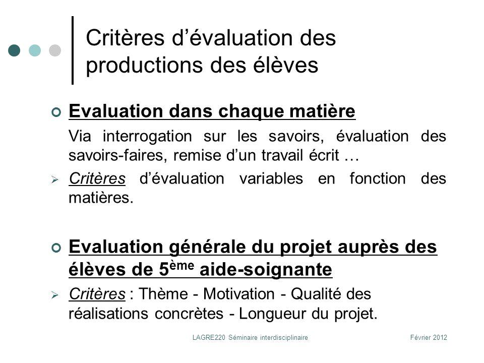 Critères d'évaluation des productions des élèves