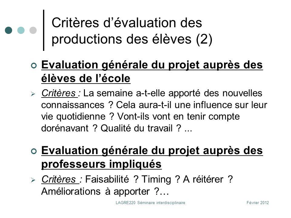 Critères d'évaluation des productions des élèves (2)