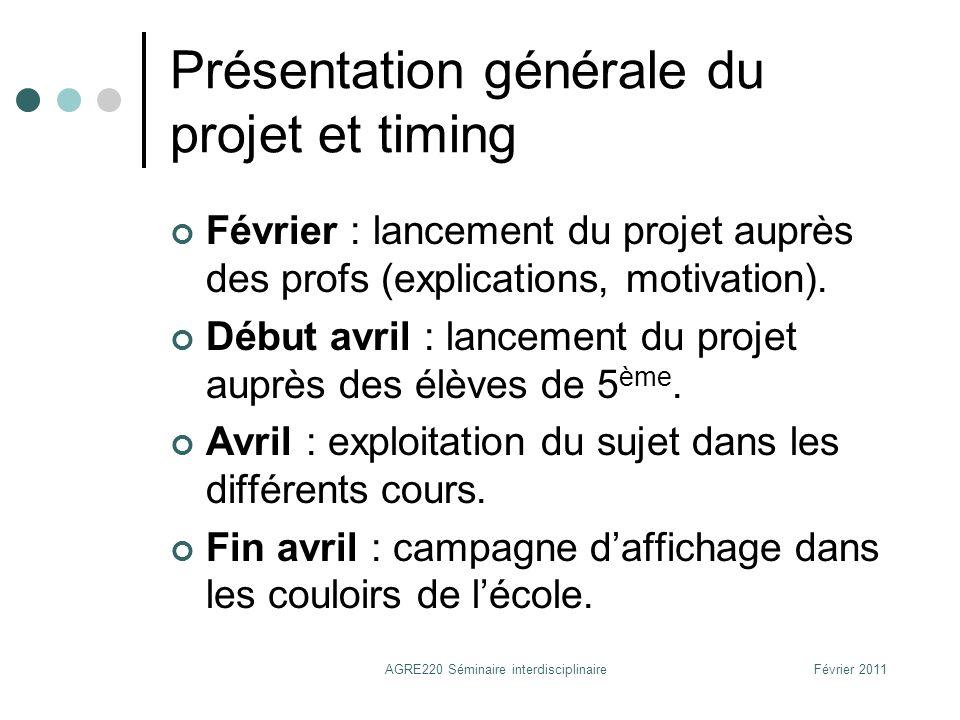 Présentation générale du projet et timing