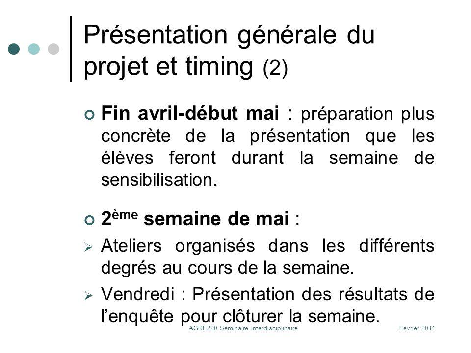 Présentation générale du projet et timing (2)