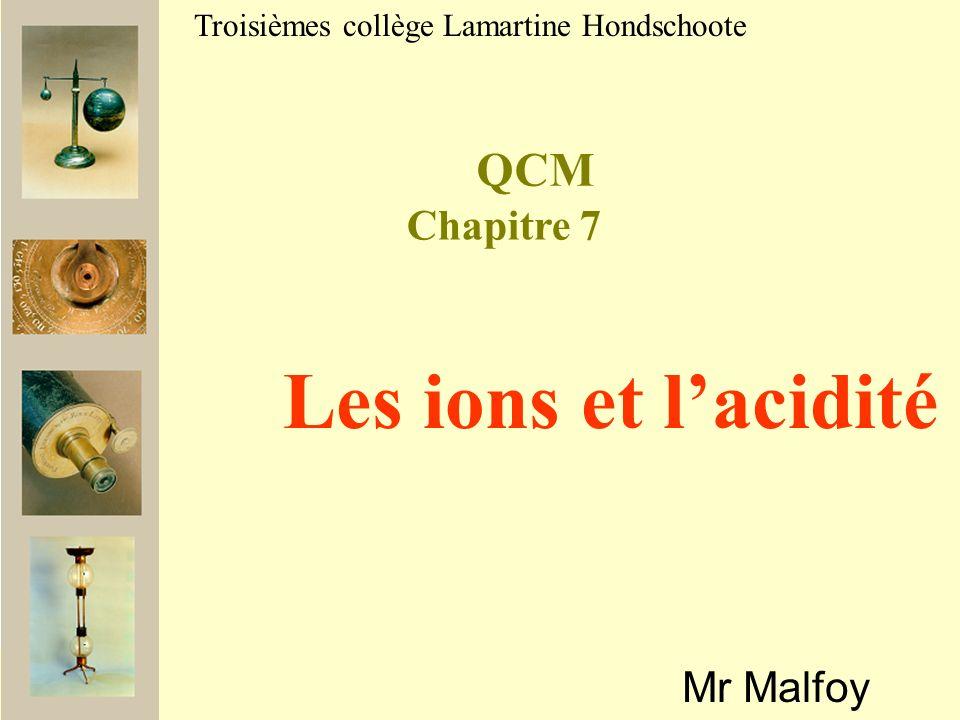 Les ions et l'acidité QCM Chapitre 7 Mr Malfoy