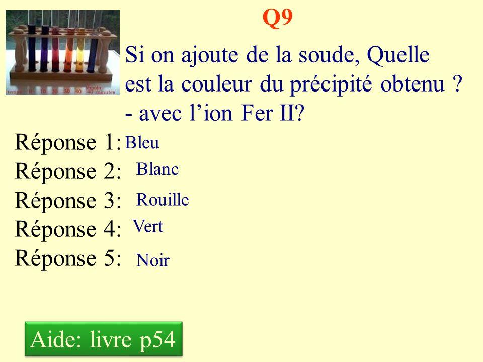 Q9 Si on ajoute de la soude, Quelle est la couleur du précipité obtenu - avec l'ion Fer II Réponse 1: