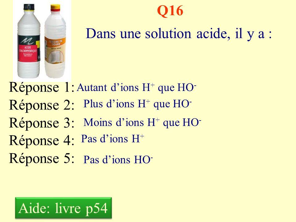 Dans une solution acide, il y a :