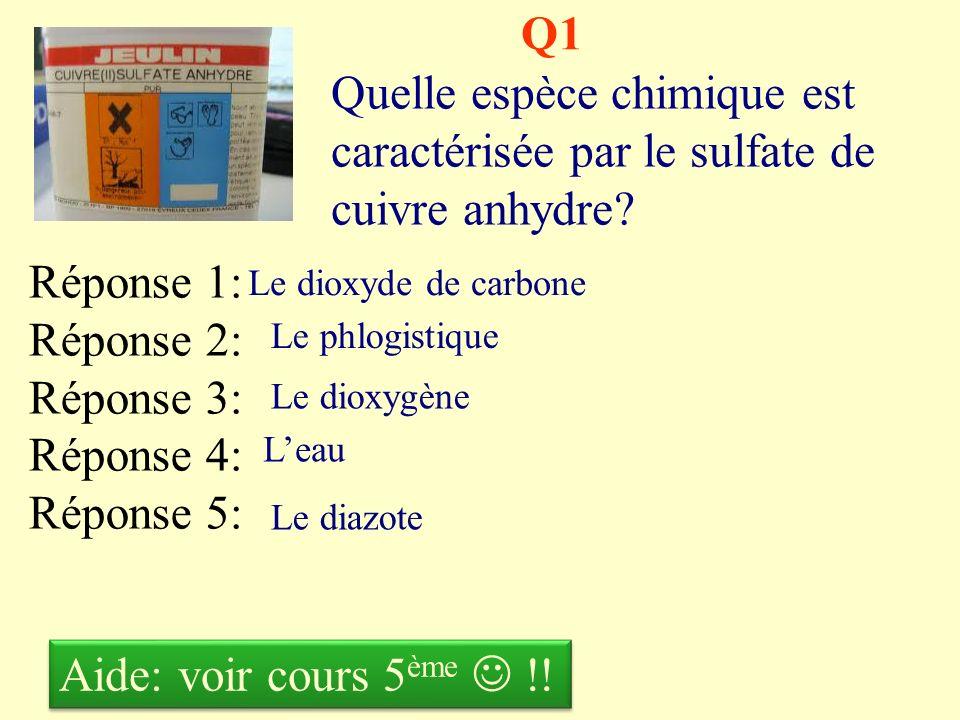 Q1 Quelle espèce chimique est caractérisée par le sulfate de cuivre anhydre Réponse 1: Réponse 2: