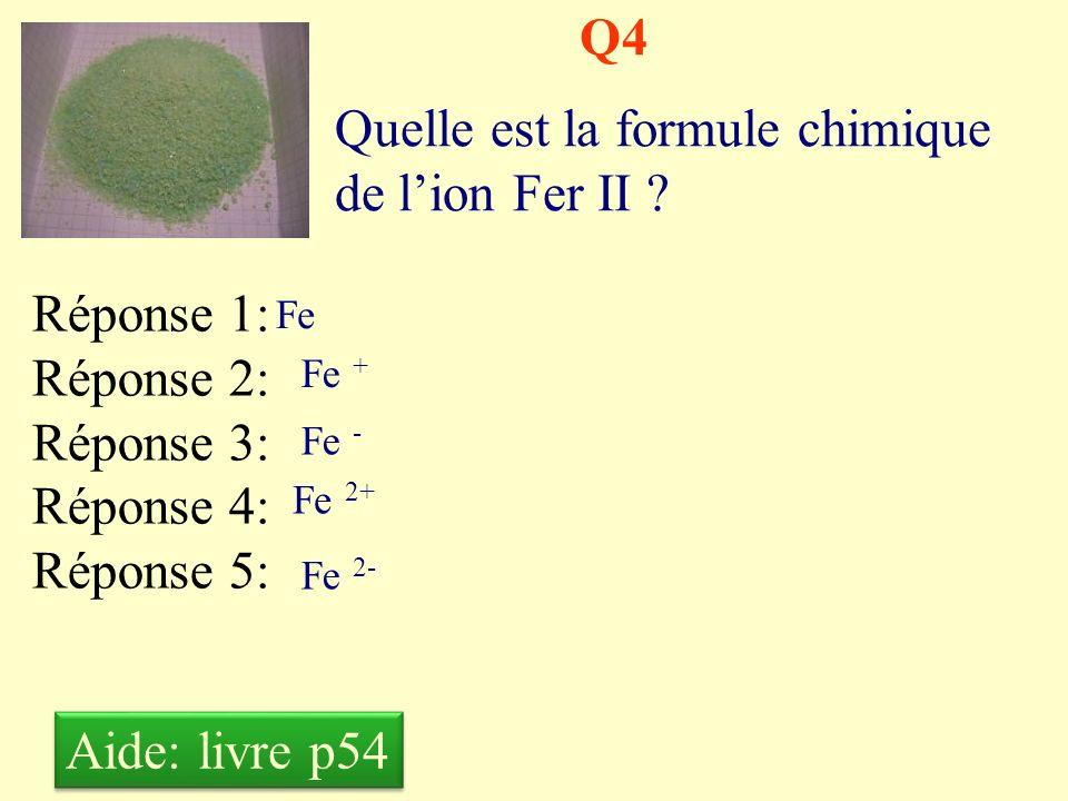 Quelle est la formule chimique de l'ion Fer II