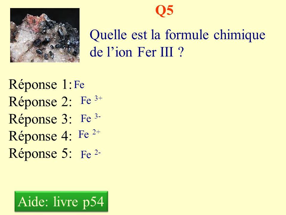 Quelle est la formule chimique de l'ion Fer III