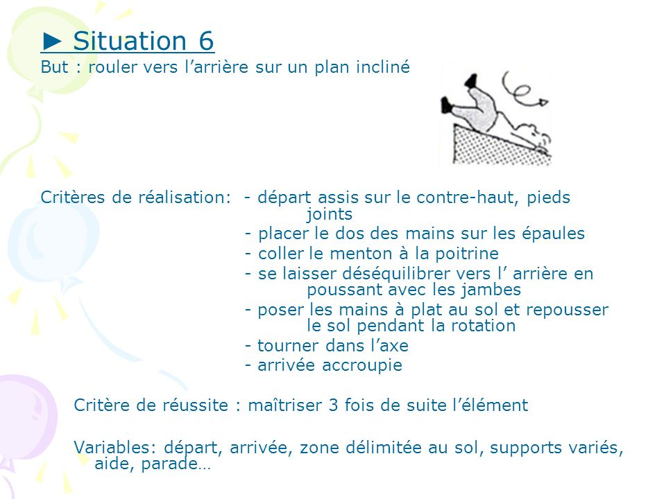 ► Situation 6 But : rouler vers l'arrière sur un plan incliné