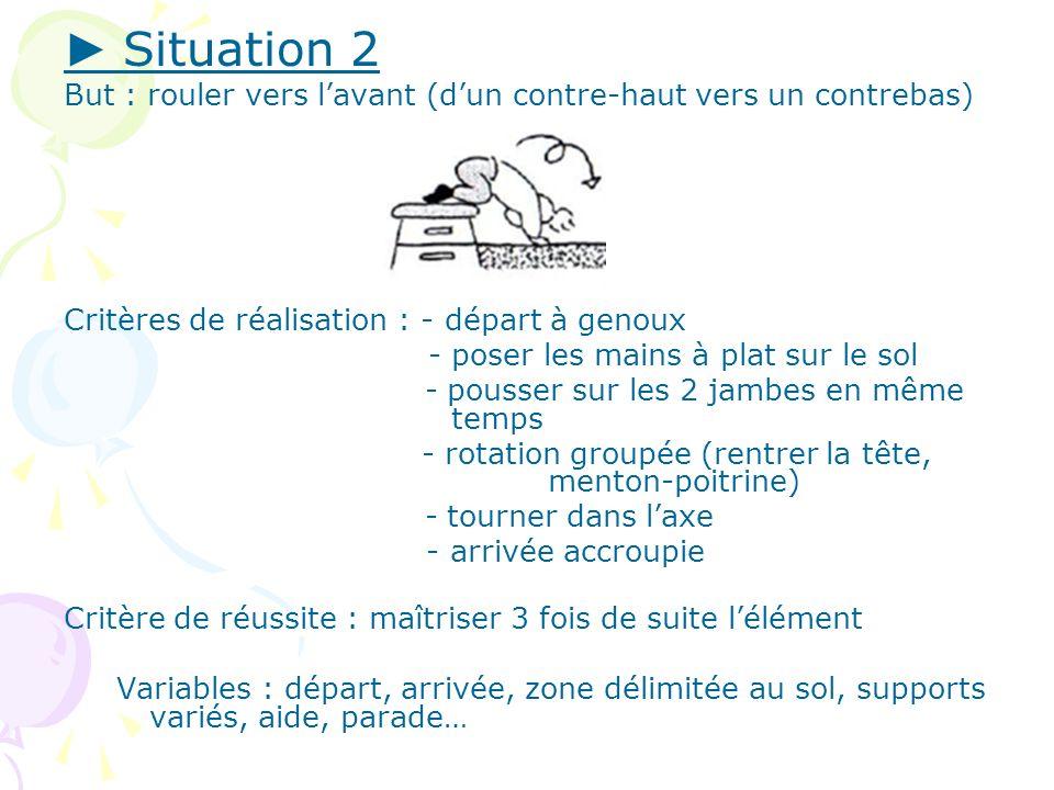► Situation 2 But : rouler vers l'avant (d'un contre-haut vers un contrebas) Critères de réalisation : - départ à genoux.