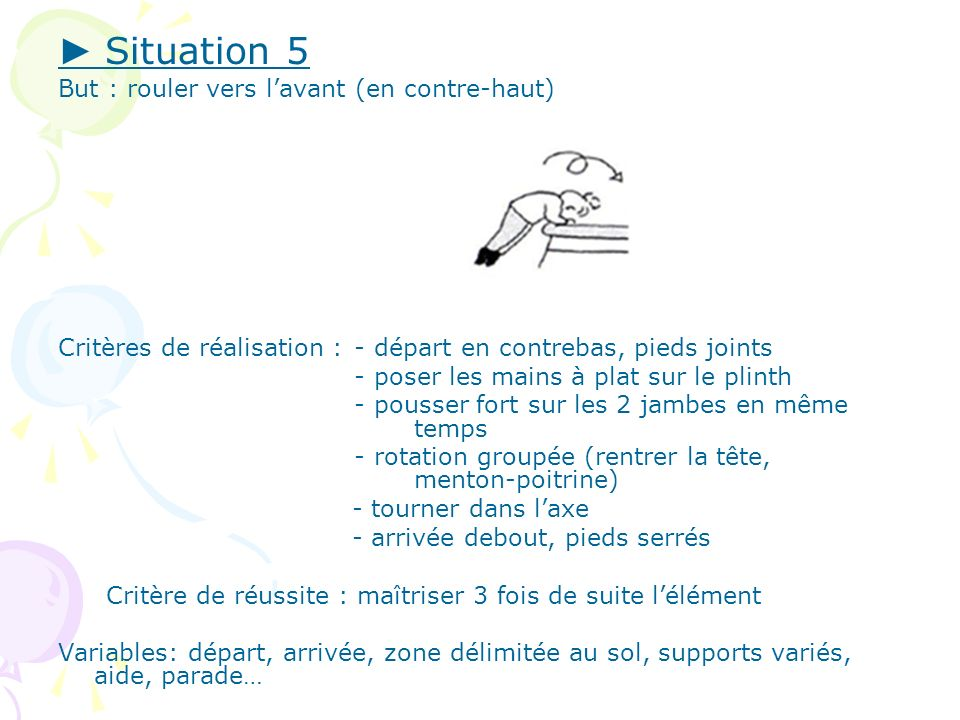 ► Situation 5 But : rouler vers l'avant (en contre-haut)