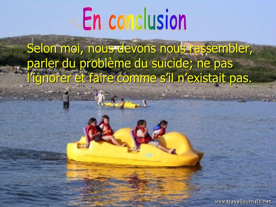 En conclusion Selon moi, nous devons nous rassembler, parler du problème du suicide; ne pas l'ignorer et faire comme s'il n'existait pas.