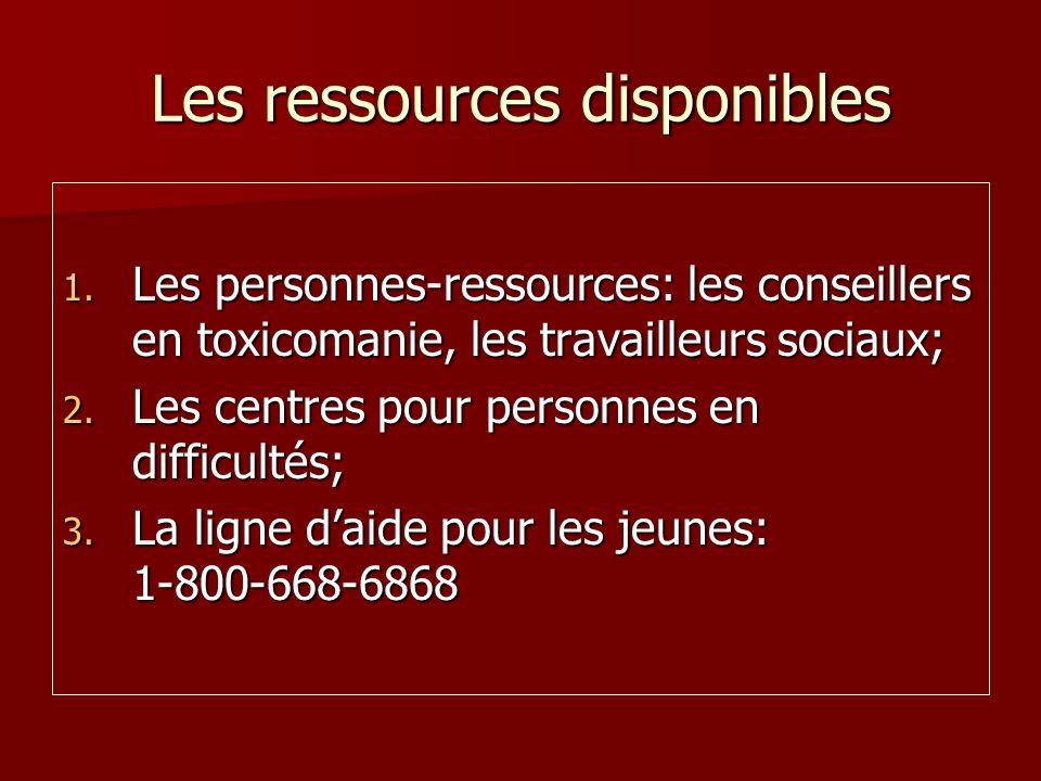 Les ressources disponibles