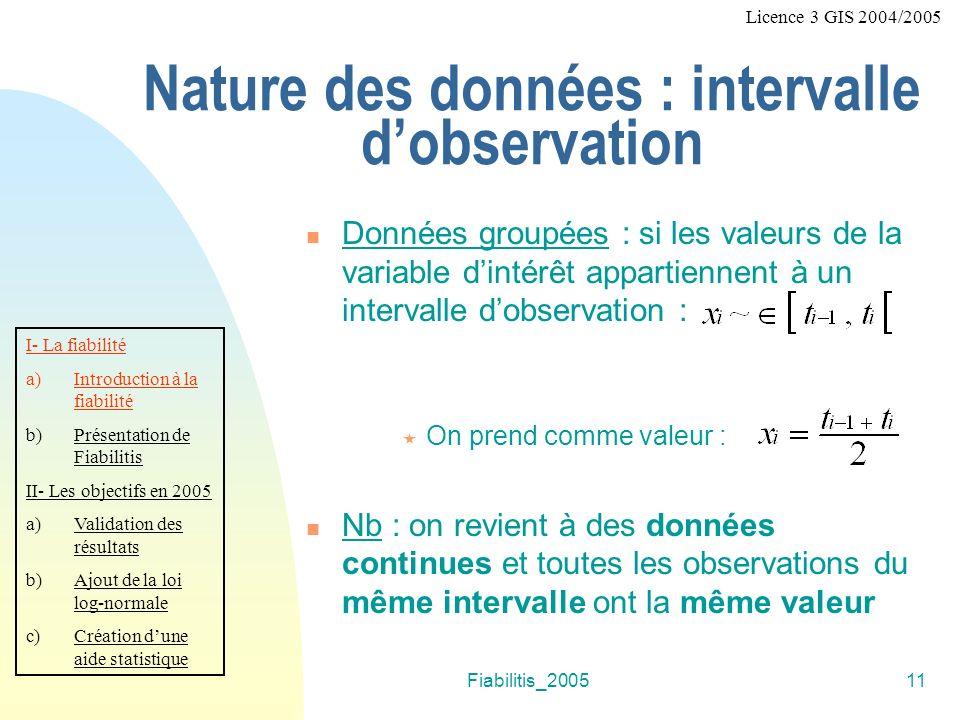 Nature des données : intervalle d'observation