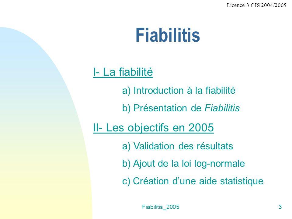 Fiabilitis I- La fiabilité II- Les objectifs en 2005