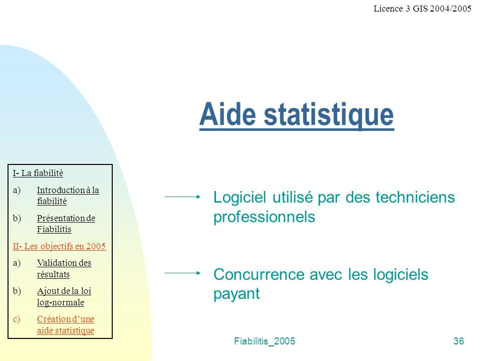 Aide statistique Logiciel utilisé par des techniciens professionnels