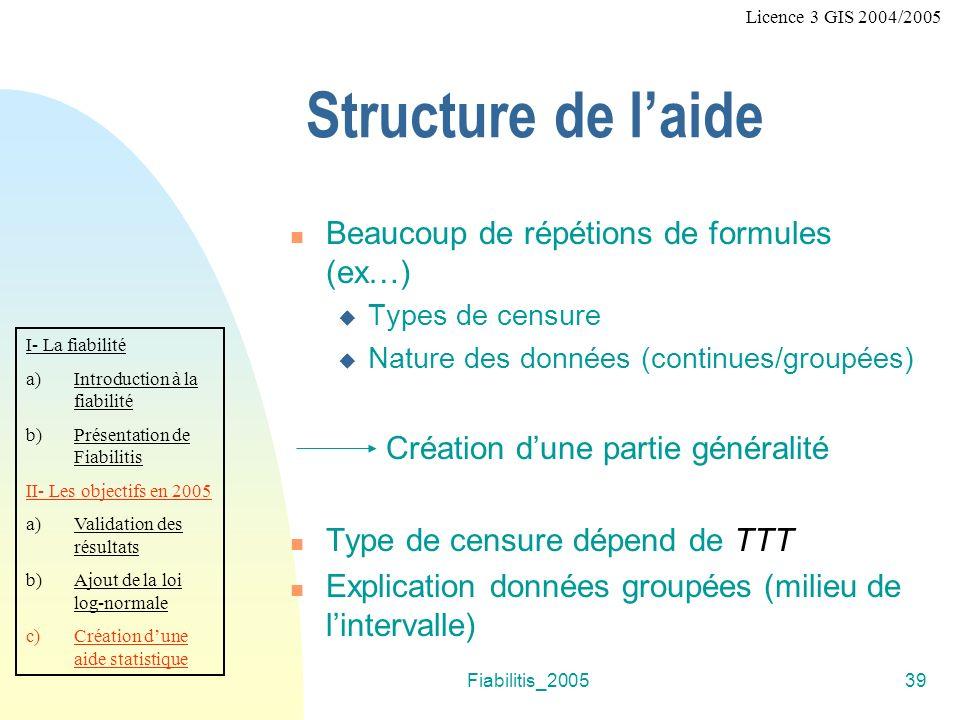 Structure de l'aide Beaucoup de répétions de formules (ex…)