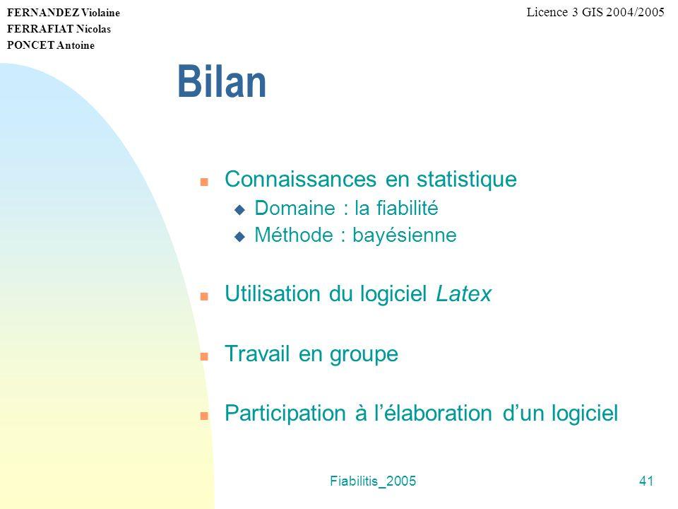 Bilan Connaissances en statistique Utilisation du logiciel Latex
