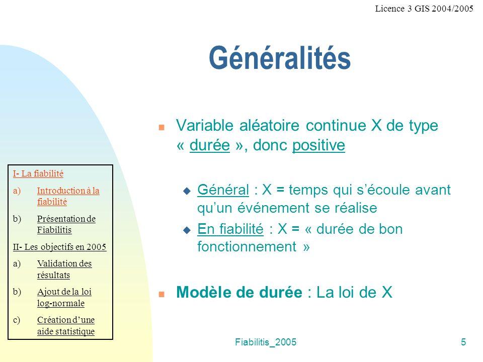 Licence 3 GIS 2004/2005 Généralités. Variable aléatoire continue X de type « durée », donc positive.