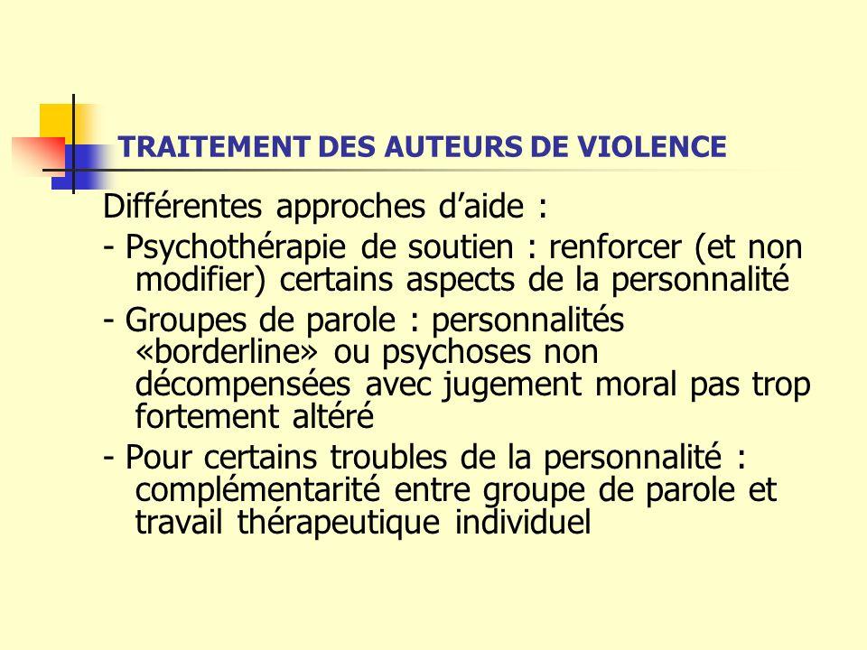 TRAITEMENT DES AUTEURS DE VIOLENCE