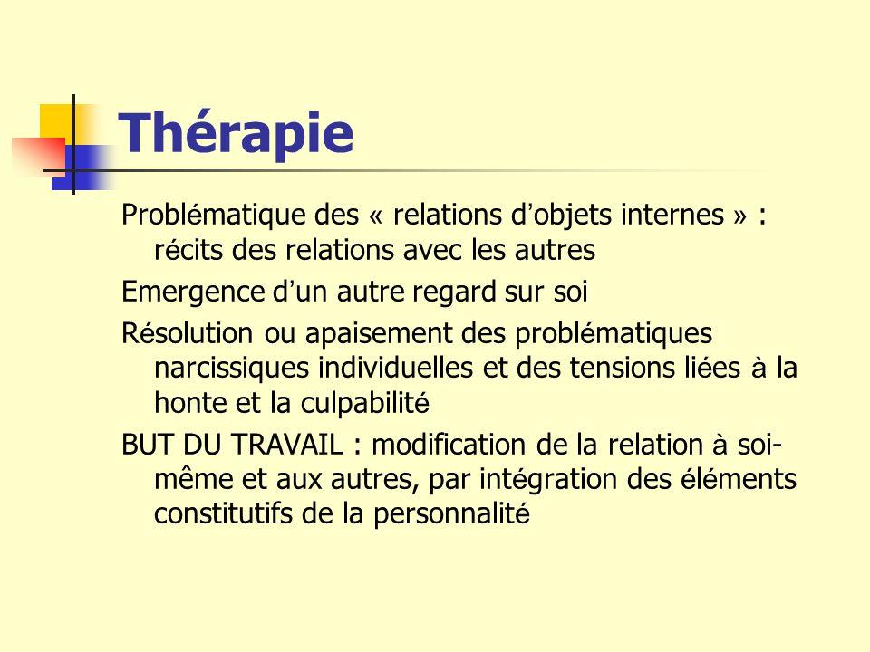 Thérapie Problématique des « relations d'objets internes » : récits des relations avec les autres. Emergence d'un autre regard sur soi.