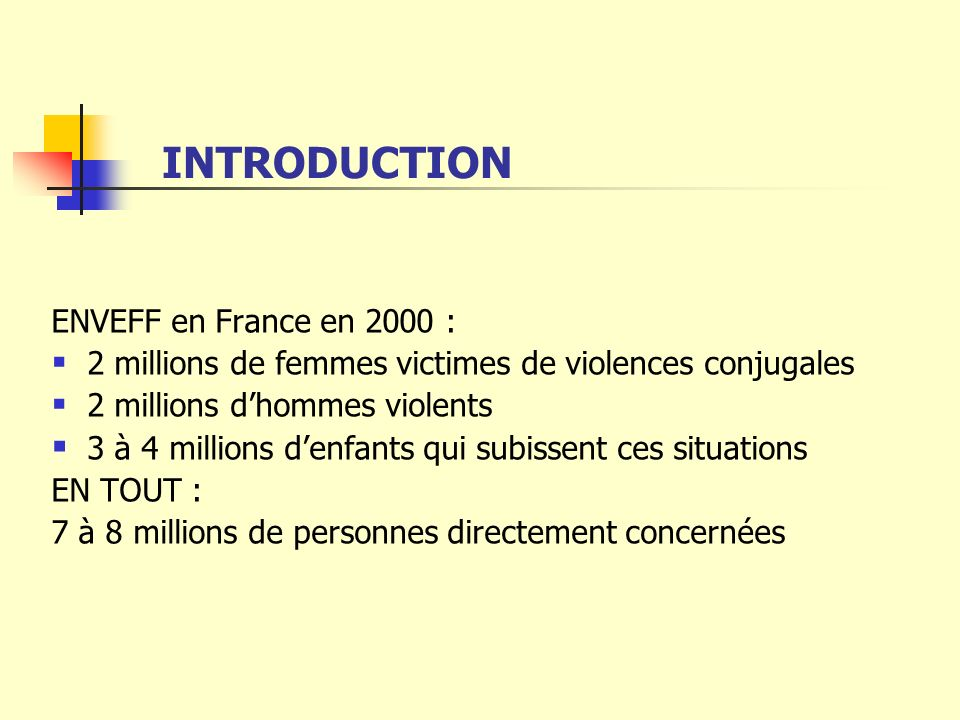 INTRODUCTION ENVEFF en France en 2000 :