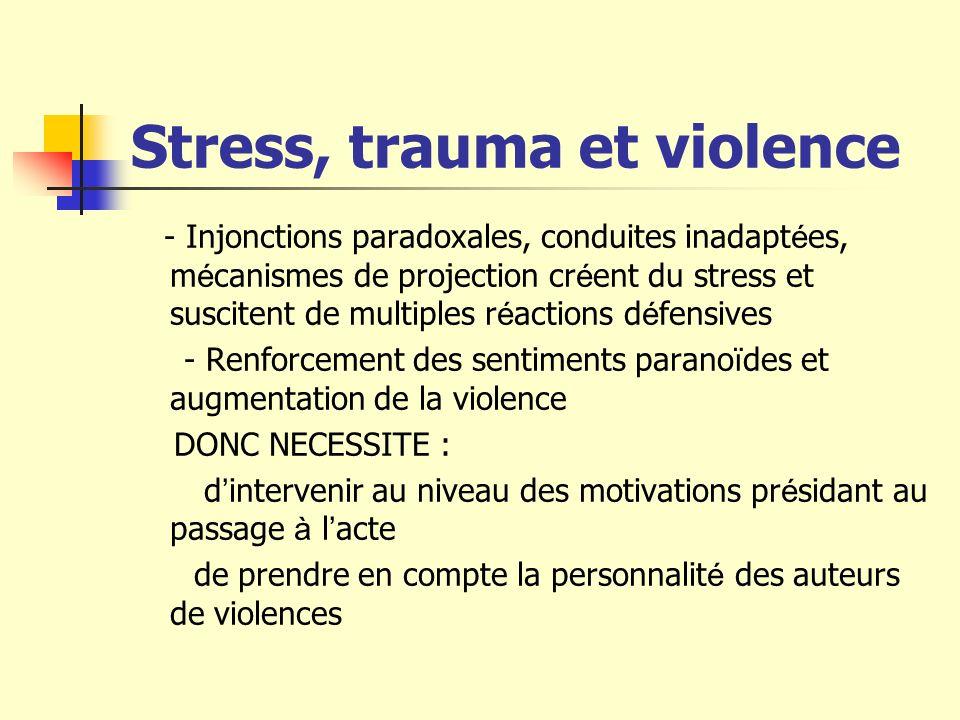 Stress, trauma et violence