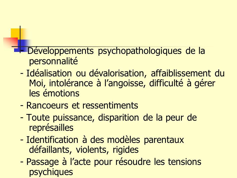 - Développements psychopathologiques de la personnalité
