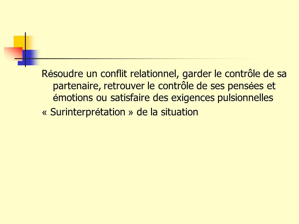 Résoudre un conflit relationnel, garder le contrôle de sa partenaire, retrouver le contrôle de ses pensées et émotions ou satisfaire des exigences pulsionnelles