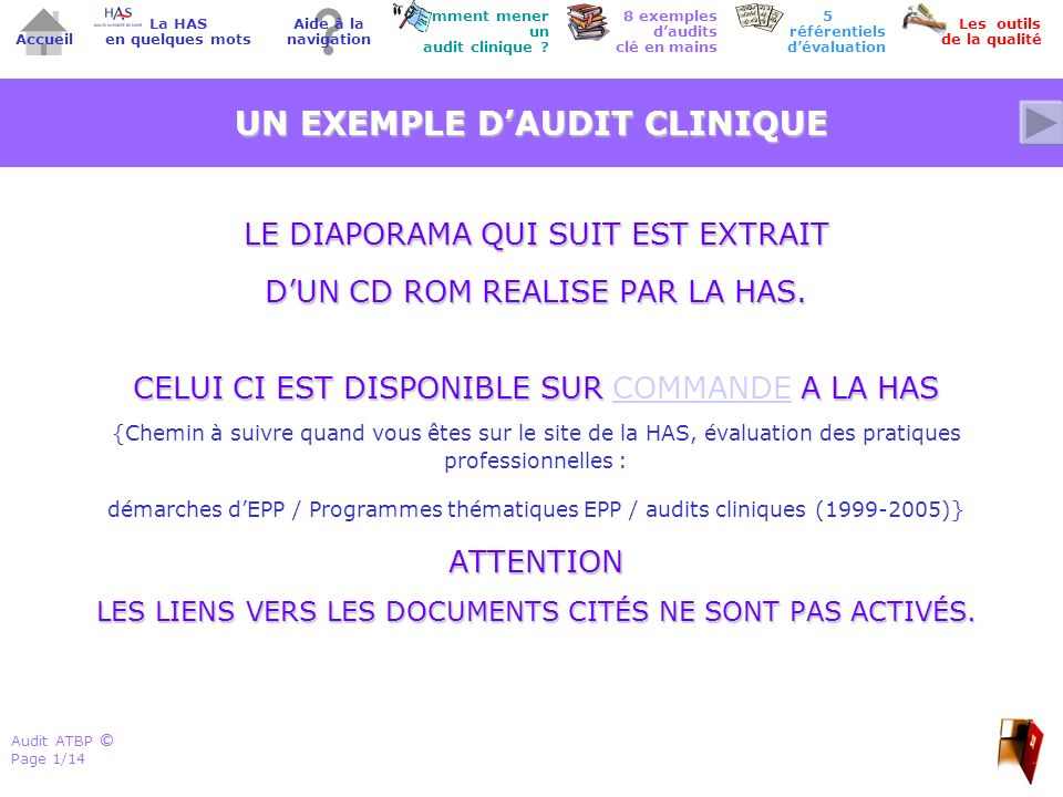 UN EXEMPLE D'AUDIT CLINIQUE