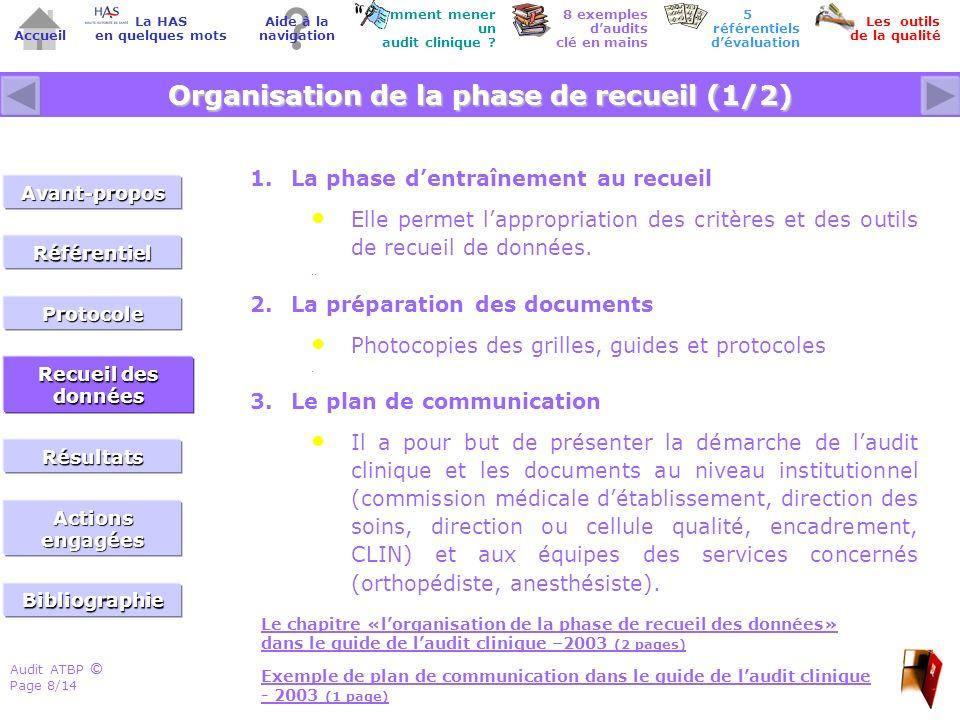 Organisation de la phase de recueil (1/2)