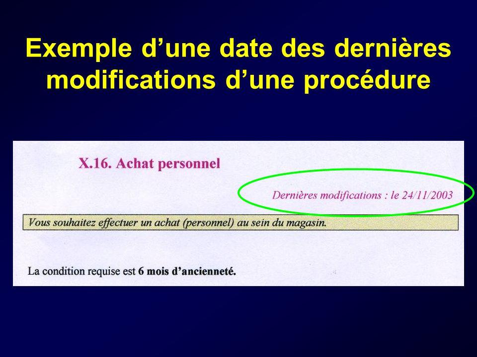 Exemple d'une date des dernières modifications d'une procédure
