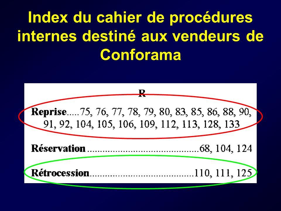 Index du cahier de procédures internes destiné aux vendeurs de Conforama