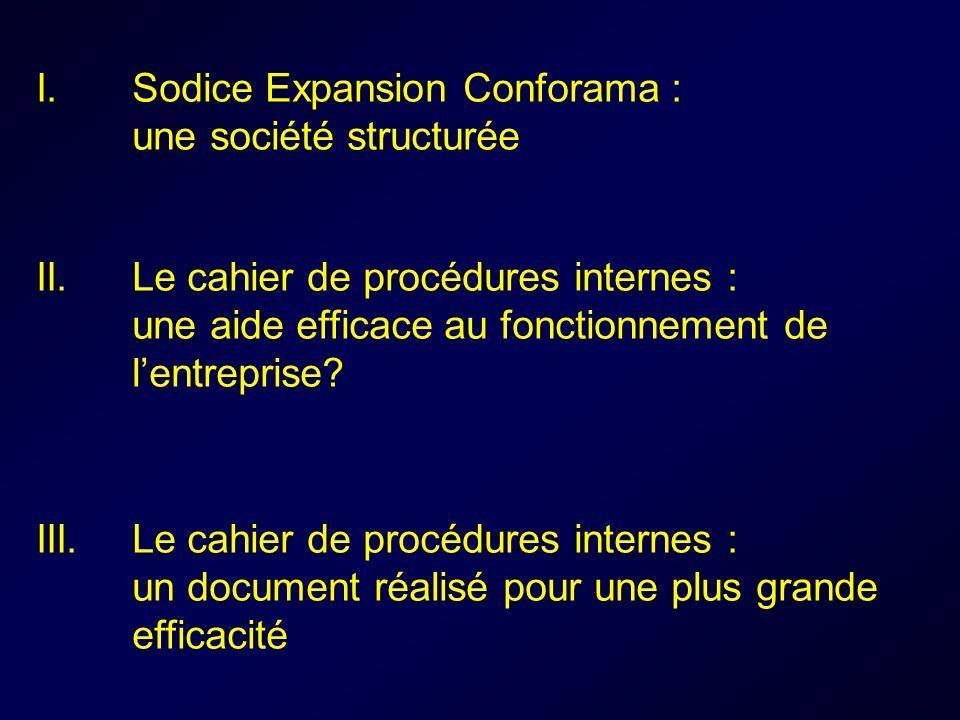 I. Sodice Expansion Conforama : une société structurée