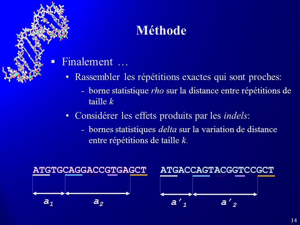 Méthode Finalement … Rassembler les répétitions exactes qui sont proches: borne statistique rho sur la distance entre répétitions de taille k.
