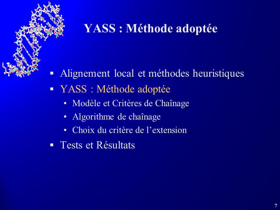 YASS : Méthode adoptée Alignement local et méthodes heuristiques