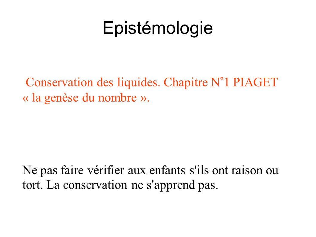 Epistémologie Conservation des liquides. Chapitre N°1 PIAGET « la genèse du nombre ».