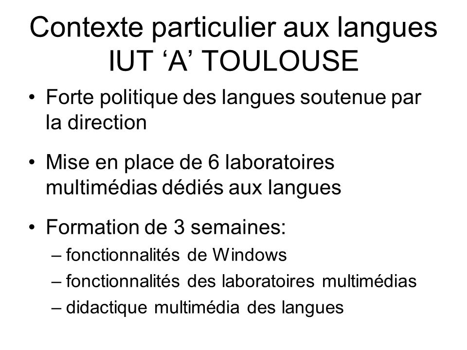 Contexte particulier aux langues IUT 'A' TOULOUSE