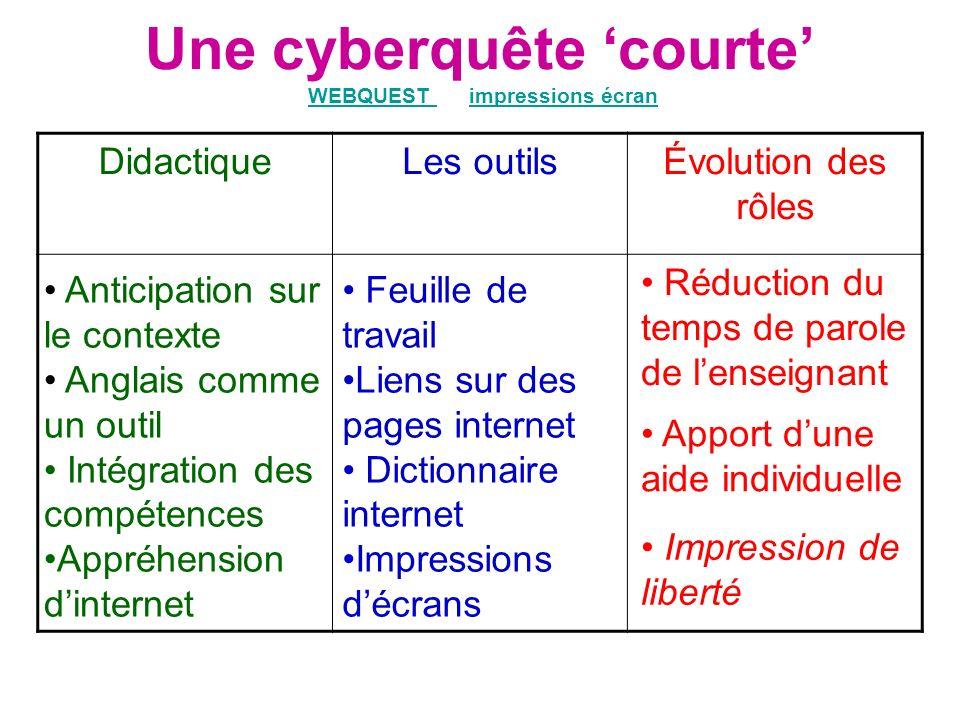 Une cyberquête 'courte' WEBQUEST ou impressions écran