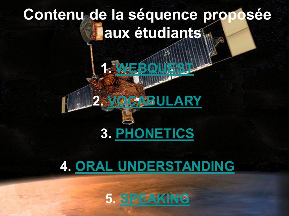 Contenu de la séquence proposée aux étudiants