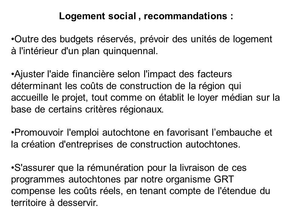Logement social , recommandations :