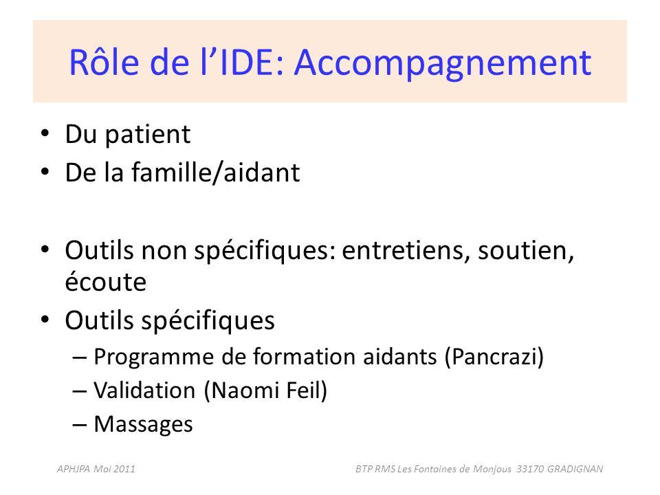 Rôle de l'IDE: Accompagnement