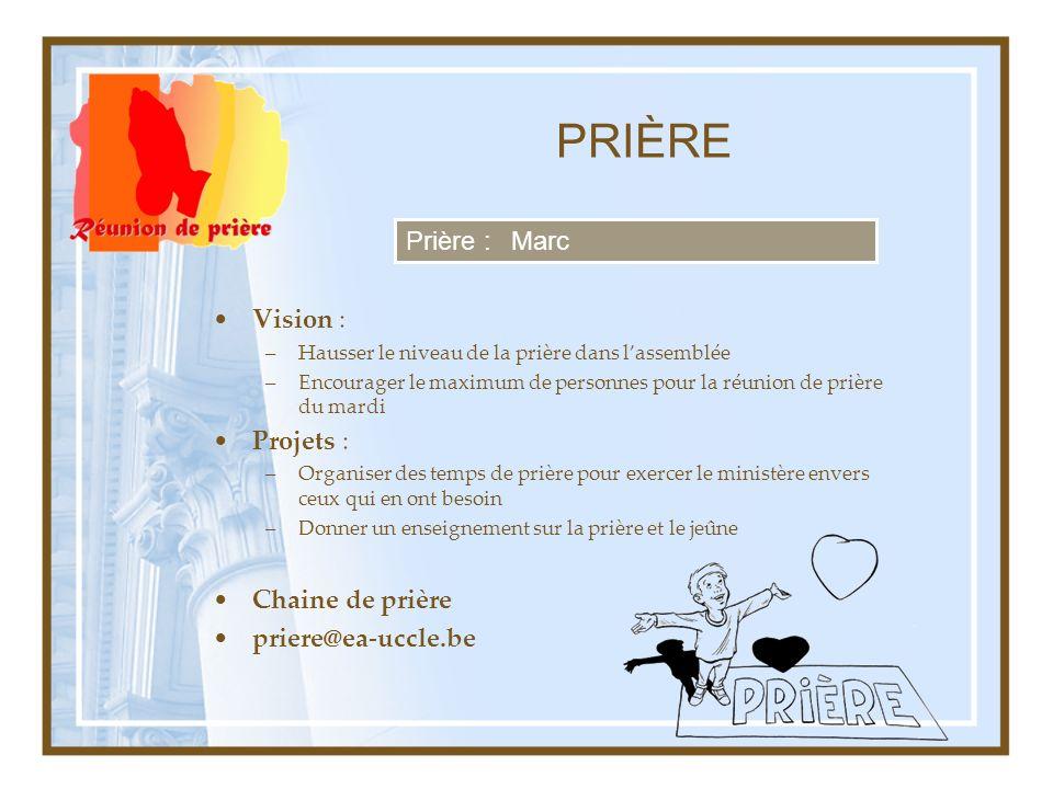 PRIÈRE Prière : Marc Vision : Projets : Chaine de prière