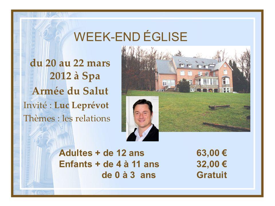 WEEK-END ÉGLISE du 20 au 22 mars 2012 à Spa Armée du Salut