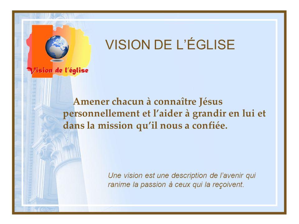 VISION DE L'ÉGLISE Amener chacun à connaître Jésus personnellement et l'aider à grandir en lui et dans la mission qu'il nous a confiée.