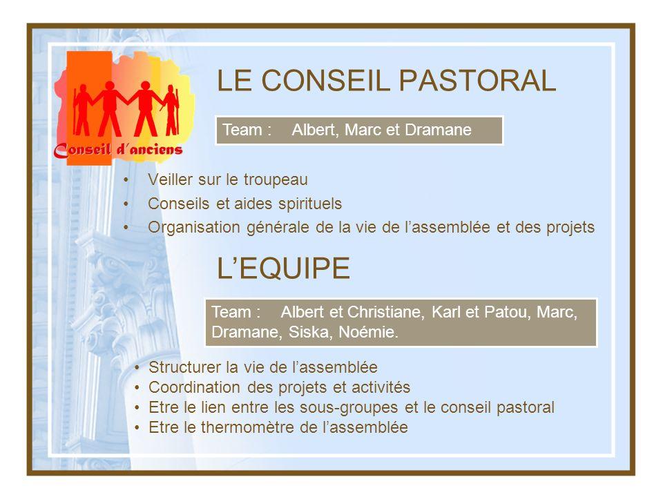 LE CONSEIL PASTORAL L'EQUIPE Team : Albert, Marc et Dramane