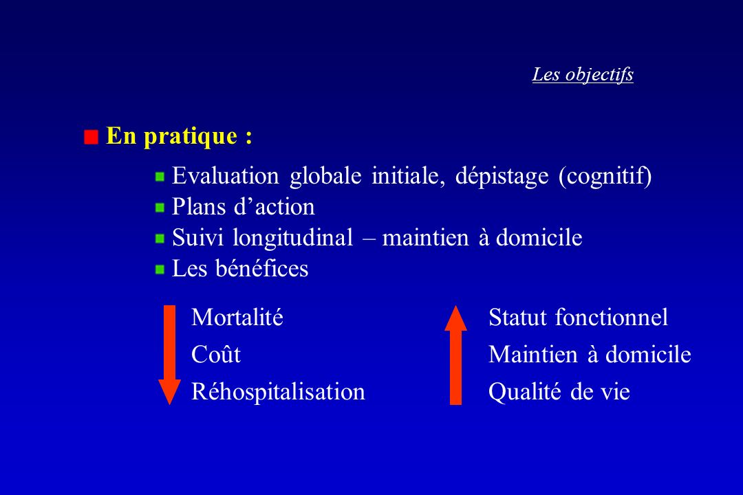 Evaluation globale initiale, dépistage (cognitif) Plans d'action